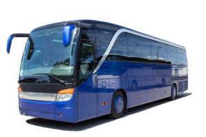 Try traveling by bus on this big blue bus